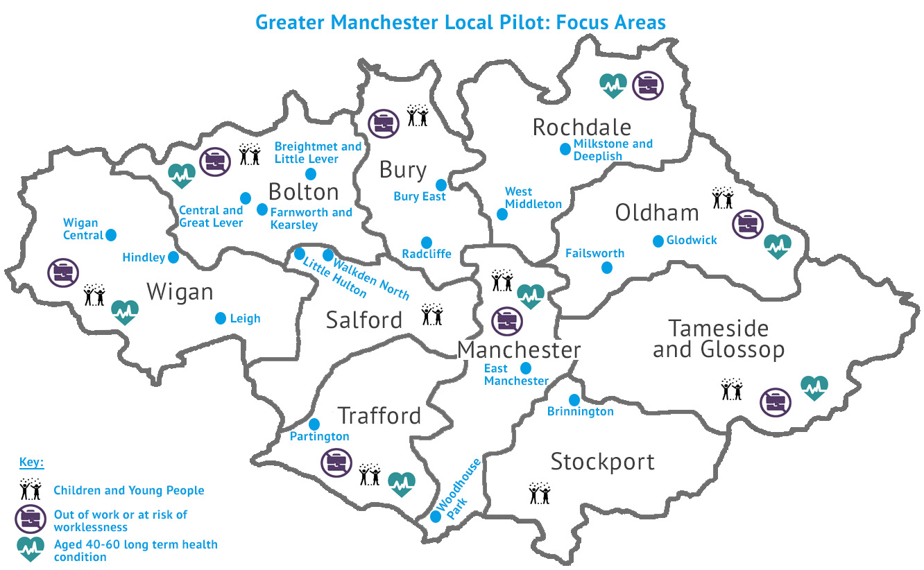 Map detailing the local pilot approaches across Greater Manchester