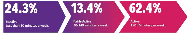 24.3% inactive, 13.4% fairly active, 62.4% active