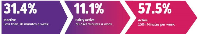 31.4% inactive, 11.1% fairly active, 57.5% active